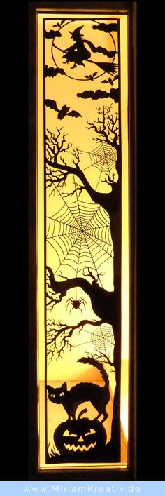 free DIY svg Halloween long window/door panel scene vinyl project (ideal to make use of that mat-less 10 FEET long cutting ability of the Silhouette Cameo or scale down and use as a topper. Halloween Tags, Happy Halloween, Casa Halloween, Image Halloween, Halloween Window, Halloween Door Decorations, Halloween 2017, Holidays Halloween, Halloween Crafts
