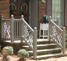 Main Entrance Door Entryway Wrought Iron Ideas For 2019 Wood Railings For Stairs, Outdoor Stair Railing, Front Porch Railings, Porch Stairs, Exterior Stairs, Wood Balusters, Iron Railings, Banisters, Exterior Paint