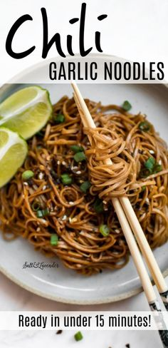 These flaming hot chili garlic noodles are easy to make and have an addictive sauce! Soba (buckwheat) noodles soy sauce sriracha hoisin sauce and lime juice combine for a yummy vegan dish. Add a protein like cooked chicken tofu or shrimp if you wish! Cooked Chicken, How To Cook Chicken, Fried Chicken, Vegan Dishes, Food Dishes, Main Dishes, Side Dishes, Garlic Noodles Recipe, Vegan Pasta Noodles