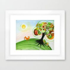 Pet Painting Bright Spring Colors Holding On Tree Framed Signed Dogs Pets Colorful Rainbows Sun Flowers Grass Nature Hope Baby Kids Family on Etsy, $32.00