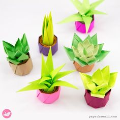 Mini Origami Succulent Plants Tutorial via can find Origami tutorial and more on our website.Mini Origami Succulent Plants Tutorial via Instruções Origami, Origami Modular, Origami Ball, Origami Dragon, Origami Fish, Paper Crafts Origami, Origami Design, Paper Crafting, Origami Ideas
