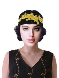 Art Nouveau Gold Flapper Headband Women Gold Indie by FoldedRoses