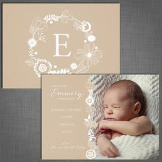 Digital Birth Announcement Template 5x7 sized neutral for boy or girl