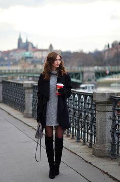 Grey dress, black OTN boots