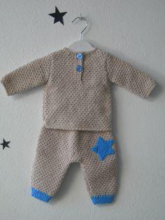 Jersey y pantalón punto fantasía en mezcla de 2 colores con aplicación  estrella ganchillo. El. Tejidos Para BebéTejidos BebePantalones BebeRopa ... defe5d43b9b0