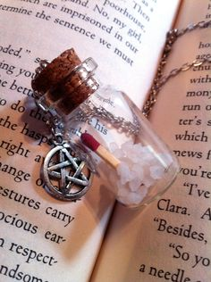 Supernatural Inspired Ghost Hunters Kit - Salt and Match Bottle Necklace with Pentagram Charm - Supernatural Jewelry - Spirit Protection Kit by wickedkarmajewelry on Etsy