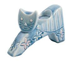 Portavelas de cerámica Gato - azul
