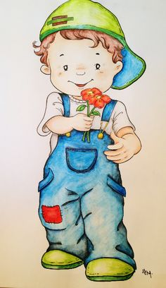 """Coloured Boy with Water colours. You can find all this drawings in """"Templates… Baby Painting, Painting For Kids, Fabric Painting, Silhouette Chat, Boy Art, Digi Stamps, Drawing For Kids, Applique Designs, Cute Cartoon"""