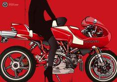 Ducati Mh900e ロケットカウルが凄くかっこいいMH900E。  この絵はもう一枚セットがあって、そっちは顔まで書かれているけれど、タンクから前がバッサリ切られている。  ここから前は知ってるでしょ?ってことかな?