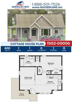 Plan details a Cottage home design with 600 sq., 1 bedroom, 1 bathroom, and an open floor plan. One Bedroom House Plans, Guest House Plans, 1 Bedroom House, Guest Cottage Plans, Cabin Plans, Small Modern House Plans, Small House Floor Plans, Cottage Floor Plans, Duplex Floor Plans