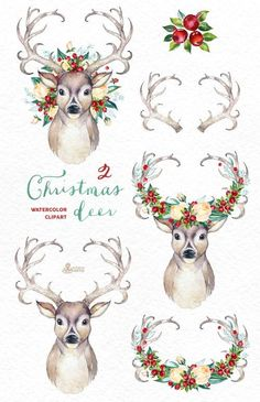 Christmas Deer 2. Watercolor deers antlers flowers hand