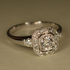 RESERVED+Art+Deco+Inspired+Wedding+Ring+Platinum+and+14k+by+JdotC