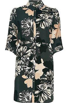 Green large floral print shirt dress £50.00 #ImWearingRI #RiverIsland