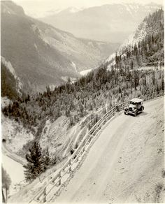 Before the Trans-Canada, this is what the road used to look like, just east of Golden in 1929. #Golden #BC