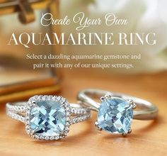 The gorgeous blue hue of aquamarines makes them perfect center stones for our distinctive rings.