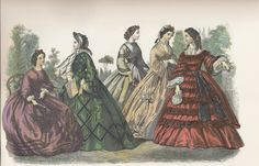 Godey's . September 1862. Fig. a. Violet foulard dress, with three rows of quilled ribbon around the skirt en tablier. The corsage is trimmed with quilled ribbon in Zouave style.  Sash trimmed with a ribbon quilling.