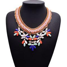 7.24€ - Rope Clain Flower Resin Shourouk Statement Collar Choker Women Necklace 1101 - Best Lady Jewelry Store