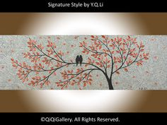 Birds Art Abstract Painting Birds tree Painting by QiQiGallery, $185.00