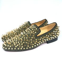 2edb584d422 New Fashion Men Party and Prom Shoes Leather Loafers with Gold Spikes  Slippers Men s Flats Red Bottom Slip-on Shoes Size