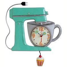 Allen Designs Clocks-Whimsical Wall Clocks By Michelle Allen-Mix It Up Clock Colorful Large Kitchen Clock With Cupcake Pendulum-Unique Gift Idea-Unique Kitchen Clocks Cute Clock, Cool Clocks, Kids Clocks, Kitchen Mixer, 1950s Kitchen, Kitchen Stuff, Kitchen Ideas, Vintage Kitchen, Kitchen Things