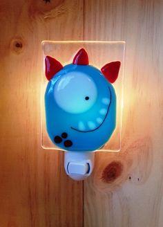 Nightlight monster fused glass orangered baby room by VeilleSurToi, $35.00