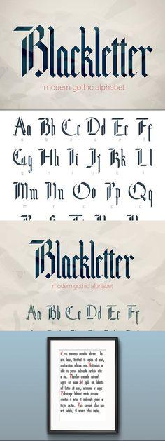 Blackletter modern gothic font. for $12.00 #font #typography #blackletter #lettering #FontDesign #BestFonts #gothic #vintage #book #designcollection #graphicdesign #design #graphics #BestDesignResources Typography Alphabet, Typography Fonts, Typography Design, Modern Typography, Gothic Lettering, Gothic Fonts, Hand Lettering, Font Design, Web Design