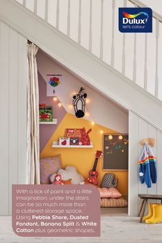 Kids playroom - Create a kids playroom with this geometric paint effect under the stairs. Under Stairs Playroom, Under Stairs Playhouse, Playroom Table, Baby Playroom, Under Stairs Cupboard, Playroom Furniture, Playroom Storage, Playroom Decor, Playroom Ideas