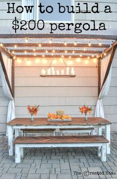 Are you planning to make a wonderful DIY pergola design in your garden? Then check 16 DIY Pergola Projects with plans that will help you build a great looking pergola to your favorite Patio Pergola, Backyard Patio, Cheap Pergola, Small Pergola, Pergola Shade, White Pergola, Cheap Backyard Ideas, Desert Backyard, Outdoor Living