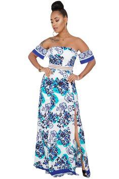 92b96d950fb Blue Floral Print Off Shoulder Boho Maxi Dress