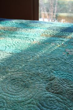 Quilt  queen size   ocean rain  ready to ship by btaylorquilts