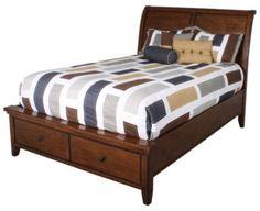 Homemakers Furniture: Cross Country Queen Sleigh Bed: Aspen: Bedroom: Beds