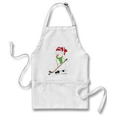 Hockey Snowman Christmas Apron. A great gift for the hockey loving chef in your life.