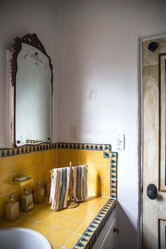 yellow bathroom tiling