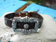 Handmade leather armband with silver metal buckle and studs by FeekoByDesign, $38.00