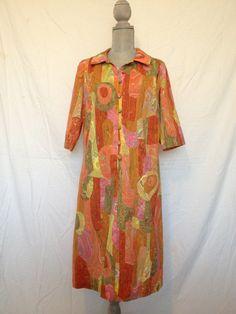 Psychedelic shirt dress 70s XL trippy by GlazyDaysandNights