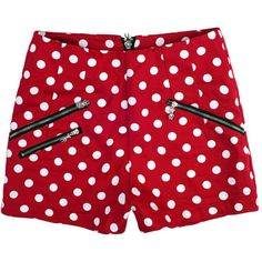 Zippered Polka Dot Low-waist Shorts Red ($65) ❤ liked on Polyvore featuring shorts, bottoms, pants, short, red, patterned shorts, red polka dot shorts, low waist shorts, zipper pocket shorts und short shorts