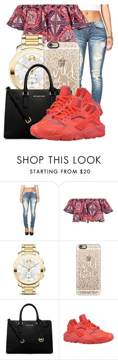 """."" by ray-royals ❤ liked on Polyvore featuring Boohoo, Movado, Casetify, MICHAEL Michael Kors and NIKE"