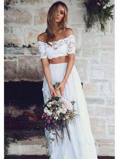 Lace White Wedding Dresses Simple Wedding Dresses White Wedding Dresses Two Pieces Wedding Dresses Wedding Dresses Lace Wedding Dresses 2018 White Lace Wedding Dress, Two Piece Wedding Dress, Wedding Dress Sleeves, Long Sleeve Wedding, Lace Dress, Lace Bodice, White Dress, Wedding Dresses 2018, Cheap Wedding Dress