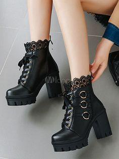 Sweet Lolita Boots Black Lace Round Toe PU Leather Chunky Heel Lolita Footwear - Milanoo.com Goth Boots, Unique Halloween Costumes, Plush Pattern, Party Fashion, Chunky Heels, Black Boots, Pu Leather, Combat Boots, Footwear
