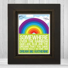 Personalized Rainbow Wall Print 8x10  Somewhere by TheLemonPeel, $20.00