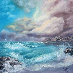 "Mascha Düben, ""Stürmisches Meer"", artoffer.com Malerei Öl auf Leinwand, Küste Rau, Meer Sturm, Wellen, Wasser"