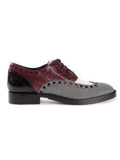 Beet red and black lambskin 'nathan' brogue oxfords from alexander wang featuring an almond toe, a lace-up front fastening, a low block heel, silver-tone�