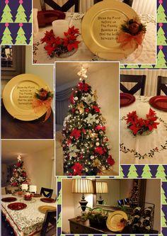 Christmas~diy cute ideas center piece, charger, christmas tree ornaments