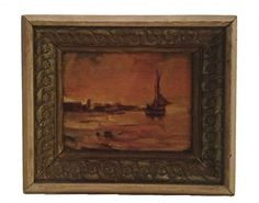 MINIATURE Oil PAINTING  Sailboat at Sunset  Framed from Greentiques
