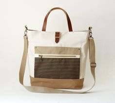 Camel beige and ivory canvas Tote / shoulder bag with front ZipPocket, Design by BagyBags on Etsy, $92.70