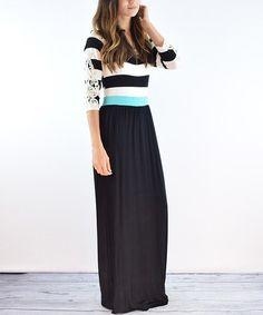Black Crochet-Sleeve Maxi Dress