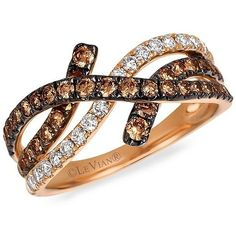 Levian Vanilla Diamond, Chocolate Diamond, Cognac Diamond & 14K... ($1,885) ❤ liked on Polyvore featuring jewelry, rings, rose gold, 14k diamond ring, diamond jewelry, 14k gold ring, 14 karat gold ring and chocolate diamond rings