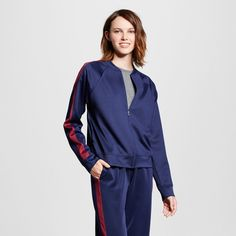 Women's Track Jacket Navy with Black Cherry XL - Mossimo Supply Co.