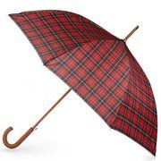totes Plaid Automatic Stick Umbrella with Crook Handle