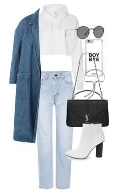 """Untitled #22142"" by florencia95 ❤ liked on Polyvore featuring Yves Saint Laurent, River Island, Sandy Liang, Steve Madden, Ray-Ban and Monica Vinader"